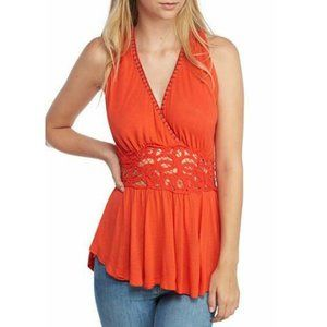 Free People Megan Peplum Lace Summer Tunic Top L